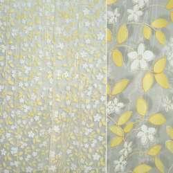 Органза белая желтые листья, белые цветы, золотые блестки ш.270