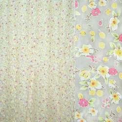 Органза белая с мелкими желто-розовыми цветами ш.270