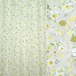 Органза белая с мелкими желто-зелеными цветами ш.270