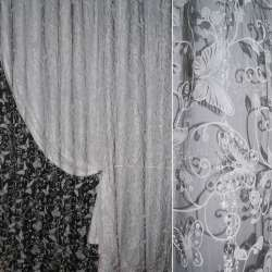Органза з флоком сіра світла метелики ш.275