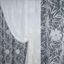 Органза с флоком белая с крупными цветами и листьями папоротника ш.280