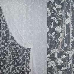 Органза с флоком белая цветы ш.280