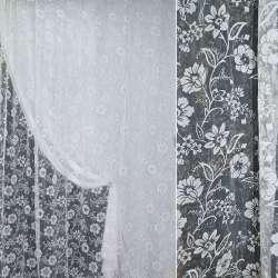 Органза белая с флоком в цветы ш.280