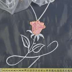 Органза белая с вышитыми розовыми тюльпанами и веточками ш.280