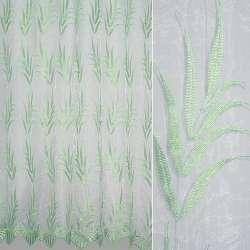 Органза біла з вишитими салатовим вузькими листям ш.280