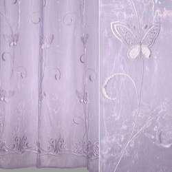 Органза блед. фіолетова з не виріз. метеликами