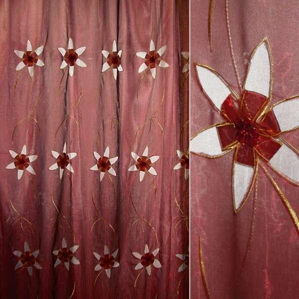 Органза бордовая с вырезными цветами