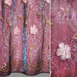 Органза бордова з вишитими рожевими квітами і листочками ш.270