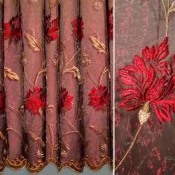 Органза бордова з вишитими бежевими і червоними квітами ш.280