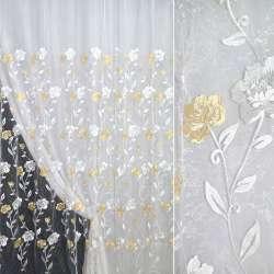 Органза біла з вишитими жовто-білими квітами ш.270