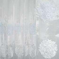 Органза біла з вишитими біло-блакитними квітковими кулями ш.280