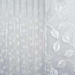 Органза біла з вишитими білими листям ш.280