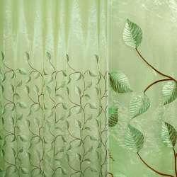 Органза светло-зеленая с вышитыми зелено-коричневыми листьями ш.280