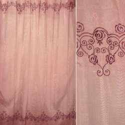 Органза красная переход с фиолетовой вышивкой ш.275
