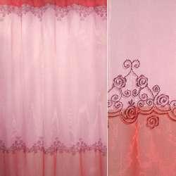 Органза грязно-розовая с ярко-розовой каймой с фиолетовой вышивкой ш.280