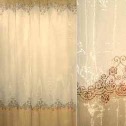Органза коричнево-бежевая переход с бронзовой вышивкой ш.275