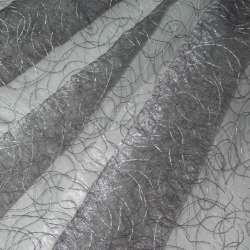 Органза серая с вышивкой паутинка ш.280