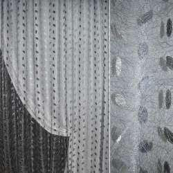 Органза орари серая светлая с вышивкой паутинка ш.270