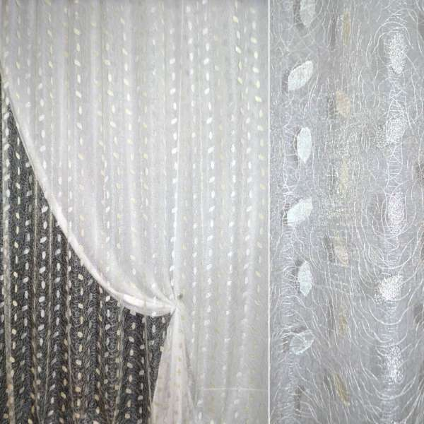 Органза орари белая с вышивкой паутинка ш.270