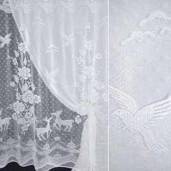тюль белая с крупными цветами и оленями ш.190