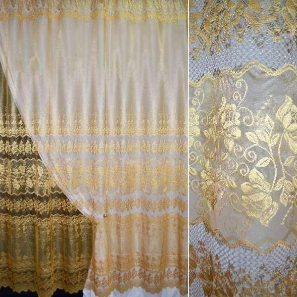 Сетка жаккардовая коричнево-золотистая с вышитым ажурным купоном, ш.280