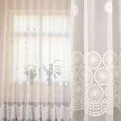Сетка белая, вышитые цветы, купон, ш.280