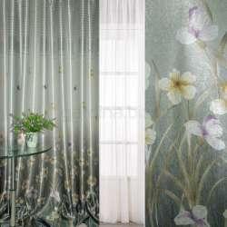 блэкаут серебристо-бирюзовый с цветами и полосами (купон) ш.270