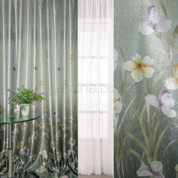 блекаут сріблясто-бірюзовий з квітами і смугами (купон) ш.270