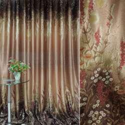 блэкаут терракотово-коричнев. с цветами (купон) ш.270