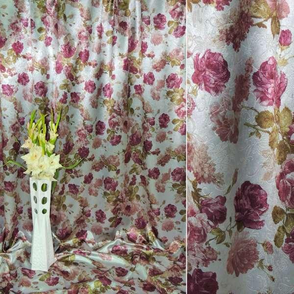 Блекаут срібло в фіолетові квіти ш.275