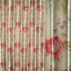 Блэкаут св/серый с красными розами и букет.цвет ш.275