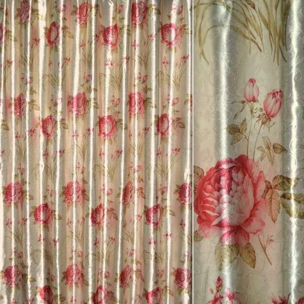 Блекаут св / сірий з червоними трояндами і букет.цвет ш.275