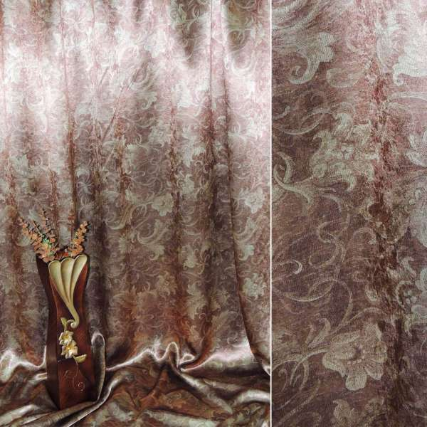 Блекаут коричнево-рудий з декор. тюльпанами ш.275