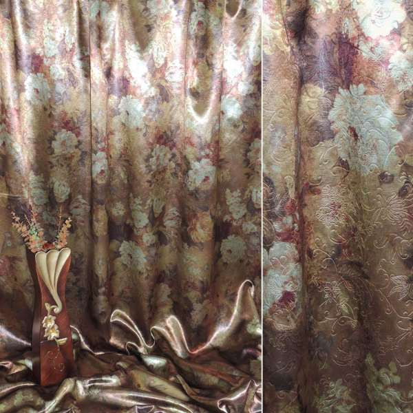 Блекаут темне золото з квітами ш.275