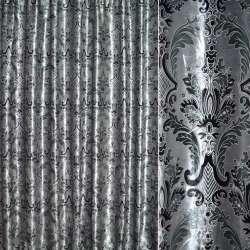 Бархат портьерный серебристый с бирюзово-черным вензелем ш.28