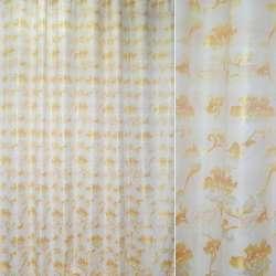 ткань порт.жакк.молочная с желтыми цветами с отливом