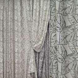 жаккард порт. сріблястий з чорним листям, ш.280