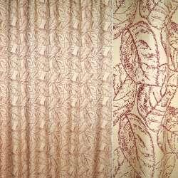 жаккард порт. кремовий з бордовими листям, ш.280