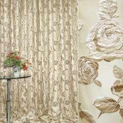 Жаккард портьєрний бежевий світлий з коричневими квітами ш.280
