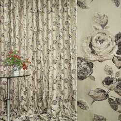 Жаккард портьєрний бежевий світлий з темно-коричневими квітами ш.280