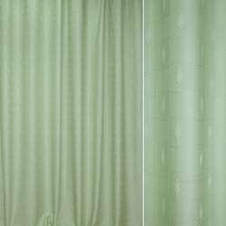 Жаккард портьерный салатовый, квадраты с листочками ш.280