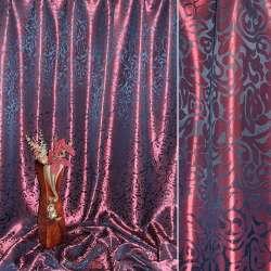 """Атлас жаккардовый 2-ст. бордово-черный """"крупные тюльпаны"""" ш.280"""