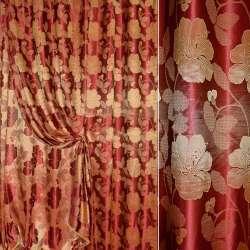 """Атлас жакардовий 2-ст. """"Великі квіти"""" червоно-золотистий ш.280"""