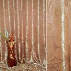 "атлас жак.2-х стор. коричнево-золот. ""Квіти"", ш.280"