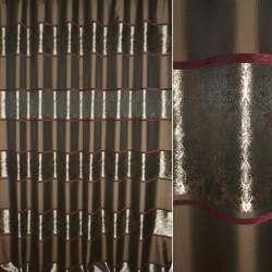 Жаккард коричневий в смуги рослинного візерунка ш, 270