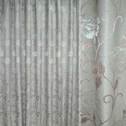 Жаккард. порт. св / сірий з рожевим листям і квітами ш.280