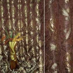 """Атлас жаккардовый бордовый темный с золотым """"королевский вензель"""" ш.280"""
