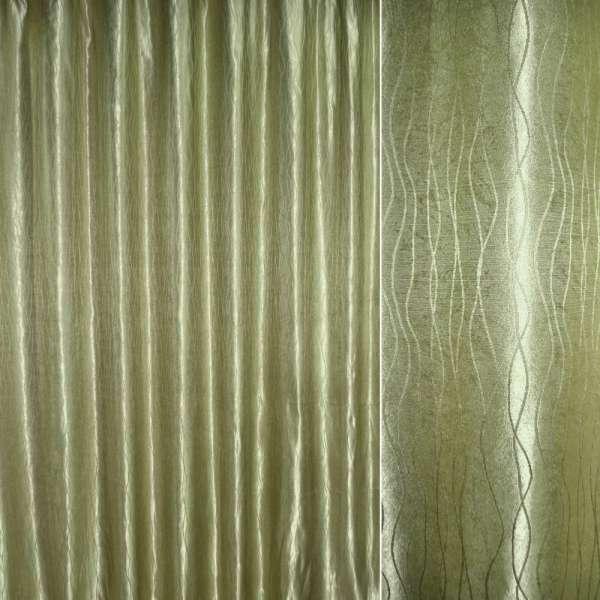 """Атлас жаккардовый оливково-серый """"волны"""" ш.280"""