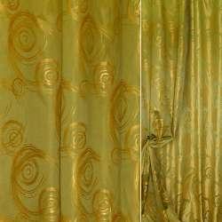 """Атлас портьерный зеленый желтые """"завитки"""" ш.150"""