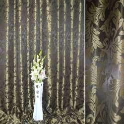"""Атлас жакардовий 2-ст. великий """"іспанський дворик"""" темно-коричневий ш.280"""